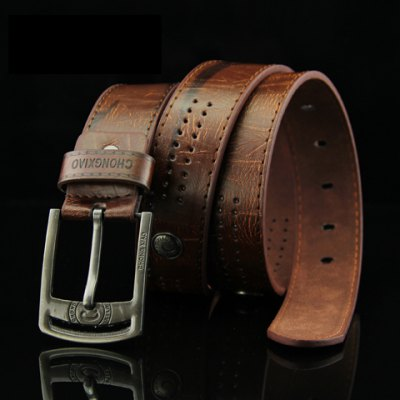 Stylish Button and Small Hole Embellished Letter Pattern Pin Buckle PU Belt For Men