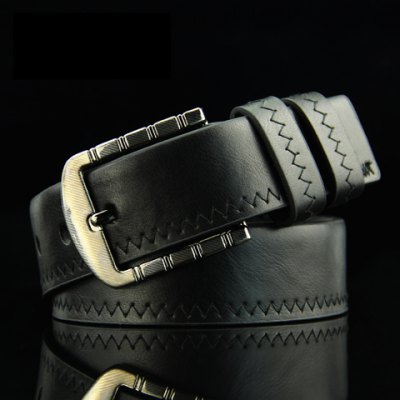 Sewing Thread Embellished Solid Color Pin Buckle PU Belt For Men