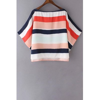 Boat Neck 3/4 Sleeve Colored Stripe T-Shirt