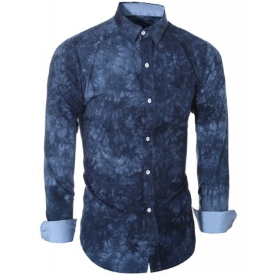 Abstract Tie-dye Patter One Pocket Shirt Collar Long Sleeves Slim Fit Shirt For Men