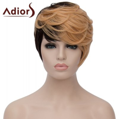 Adiors Fluffy Short Wave Capless Spiffy Side Bang Light Blonde Mixed Black Synthetic Women's Wig