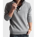 cheap Faux Twinset Turn-down Collar Button Design Long Sleeves Sweater For Men