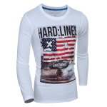 cheap Trendy Round Neck Flag Pattern Print Long Sleeve Men's T-Shirt