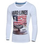Trendy Round Neck Flag Pattern Print Long Sleeve Men's T-Shirt