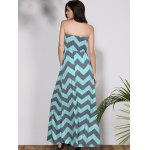 best Bohemian Style Strapless Sleeveless Striped Women's Dress
