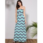 cheap Bohemian Style Strapless Sleeveless Striped Women's Dress