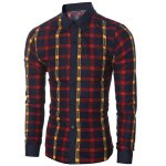 cheap Classic Color Block Shirt Collar Long Sleeves Slimming Plaid Shirt For Men