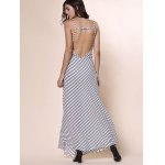 Bohemian Plunging Neckline Striped Backless Dress For Women for sale