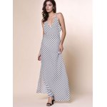 Bohemian Plunging Neckline Striped Backless Dress For Women deal
