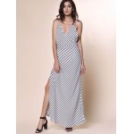 best Bohemian Plunging Neckline Striped Backless Dress For Women