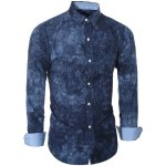 cheap Abstract Tie-dye Patter One Pocket Shirt Collar Long Sleeves Slim Fit Shirt For Men