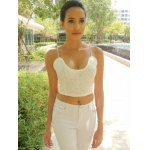 Exquisite V-Neck Spaghetti Strap White Crop Top For Women deal