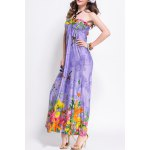 cheap Chic Sleeveless Floral Print Slimming Women's Halter Dress