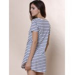 Summer Casual Striped Dress With Sleeves for sale