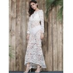 Lace Backless Long Sleeve See Thru Mermaid Maxi Dress for sale