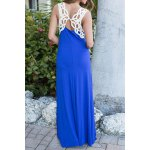 Stylish Scoop Neck Sleeveless Lace Hook Hit Color Women's Dress deal