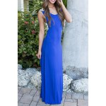 cheap Stylish Scoop Neck Sleeveless Lace Hook Hit Color Women's Dress