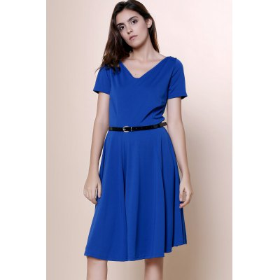 Vintage Solid Color V-Neck High Waist Ball Flare Dress For WomenDesigner Dresses<br>Vintage Solid Color V-Neck High Waist Ball Flare Dress For Women<br><br>Style: Vintage<br>Material: Polyester<br>Silhouette: A-Line<br>Dresses Length: Knee-Length<br>Neckline: V-Neck<br>Sleeve Length: Short Sleeves<br>Pattern Type: Solid<br>With Belt: Yes<br>Season: Summer<br>Weight: 0.499kg<br>Package Contents: 1 x Dress  1 x Belt