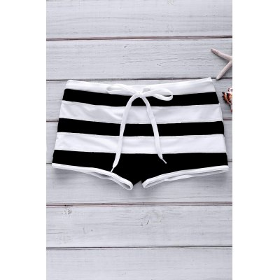 Sexy Color Block Lace-Up Design Striped Boxer Swimming Trunks For Men