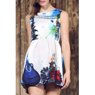 Round Collar Violin Print Sleeveless Dress For Women