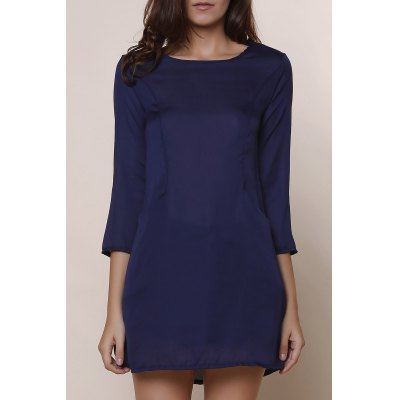 Solid Color 3/4 Sleeve Chiffon Dress