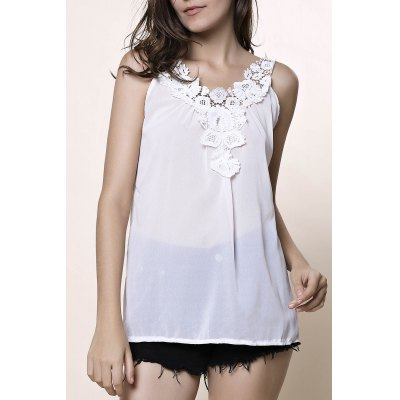 V-Neck Sleeveless Laciness Hollow Out Tank Top