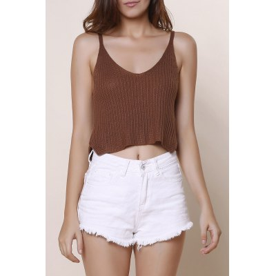 V-Neck Solid Color Knitted Crop Top For Women