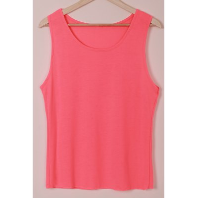 U-Neck Sleeveless Solid Color Tank Top