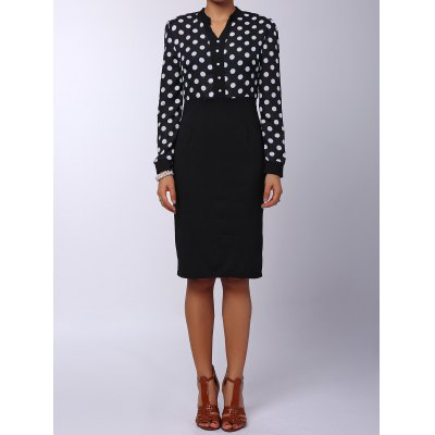 V-Neck Polka Dot Splicing High-Waisted Long Sleeve Dress For Women