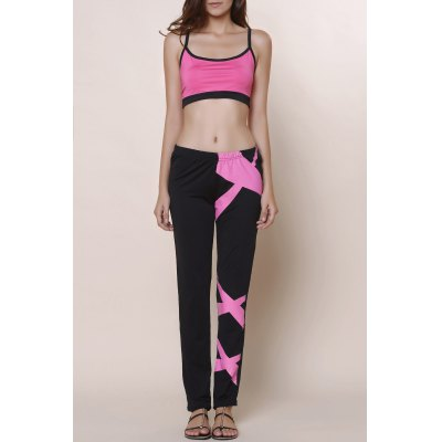 Spaghetti Strap Color Block Crop Top and Pants Twinset For Women