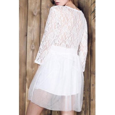 Plunging Neck 3/4 Sleeve Lace Splicing Plus Size Dress For Women