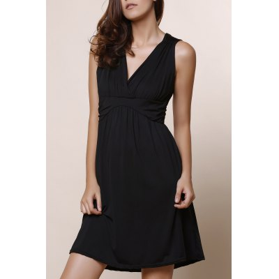 Fashionable Plunging Neckline Solid Color A-Line Dress For Women