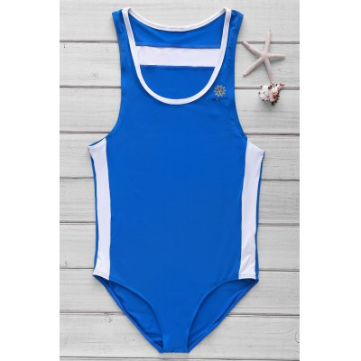 U Convex Pouch Design One-Piece Swimming Suit