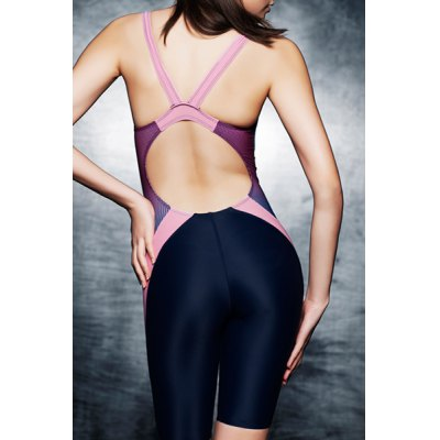 Sporty High Neck Backless Printed One Piece Swimsuit For Women