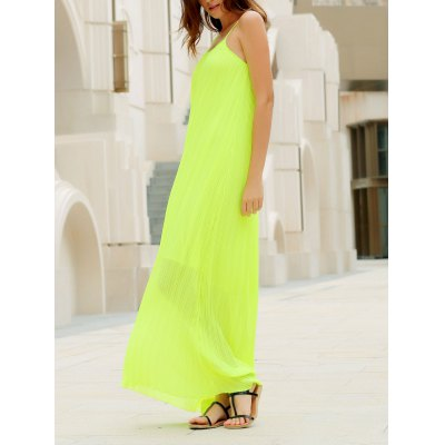 Fashionable Round Collar Solid Color Crumple Sleeveless Women's Maxi Dress