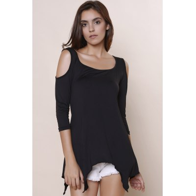 Casual Scoop Neck Solid Color Cut Out Half Sleeve T-Shirt For Women