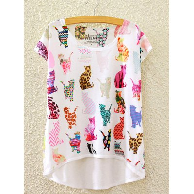 Round Neck Short Sleeve Colorful Cats Print High-Low Hem T-Shirt