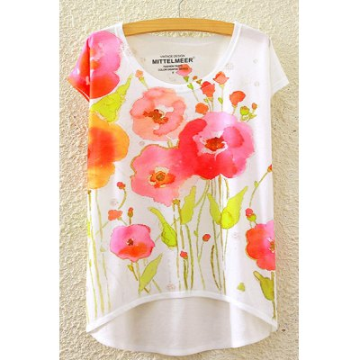 Round Neck Short Sleeve Watercolor Floral Print High-Low Hem T-Shirt