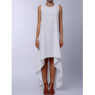Round Collar Sleeveless Solid Color Asymmetrical Dress