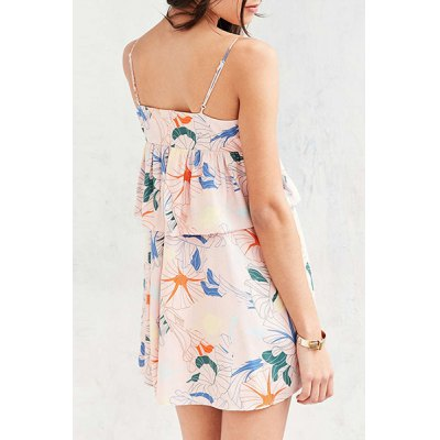 Stylish Cami Sleeveless Floral Print Flounce Ruffles Women's Dress