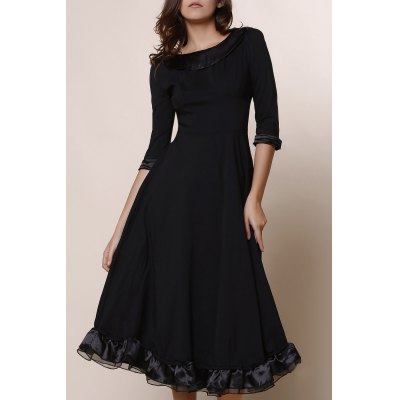 Vintage Round Collar Solid Color Flounced 3/4 Sleeve Dress For Women