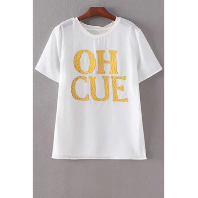 Round Neck Short Sleeve Yellow Letter T-Shirt