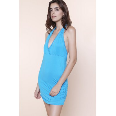 Stylish Halter Sleeveless Solid Color Ruched Backless Women's Tank Top