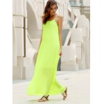 cheap Fashionable Round Collar Solid Color Crumple Sleeveless Women's Maxi Dress
