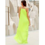 Fashionable Round Collar Solid Color Crumple Sleeveless Women's Maxi Dress for sale