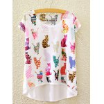 Stylish Round Neck Short Sleeve Colorful Cats Print High-Low Hem T-Shirt For Women
