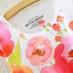 Country Style Round Neck Short Sleeve Watercolor Floral Print High-Low Hem T-Shirt For Women deal