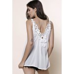Stylish V-Neck Sleeveless Laciness Hollow Out Women's Tank Top deal