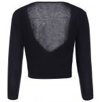 cheap Sexy Plunging Neck Long Sleeve Solid Color Self Tie Women's Crop Top