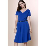 cheap Vintage Solid Color V-Neck High Waist Ball Flare Dress For Women